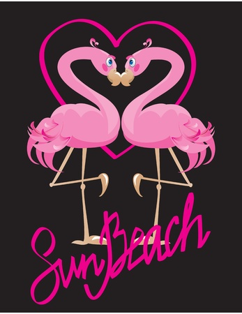 couple of pink flamingos and heart (I love Sun Beach) Vector