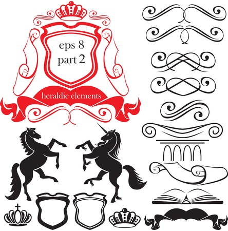 Set of heraldic silhouettes elements - icons of blazon, crown, vignette, scroll, book, column, horse, unicorn Illustration