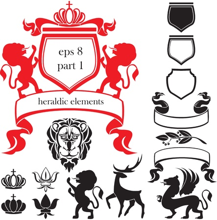 Set of heraldic silhouettes elements - lion, blazon, crown, deer, griffin, scroll, fleur de lis Vector