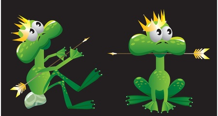 king frog cartoon with arrow and crown Vector