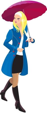 dress coat: Bella ragazza bionda con ombrello