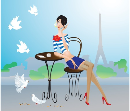 terrace: Cute young girl in Paris street cafe