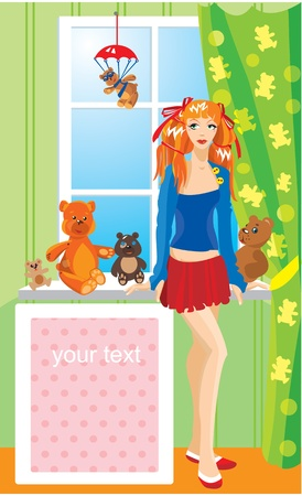 Pretty girl with teddy bear toys standing next to window Vector