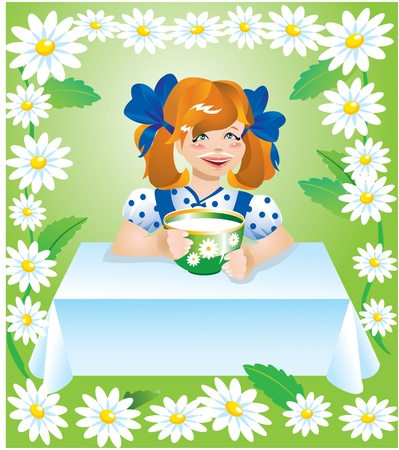 girl with cup of milk and camomile border Stock Vector - 11142289