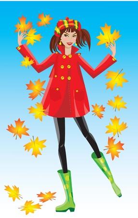 rubber boots: autumn girl