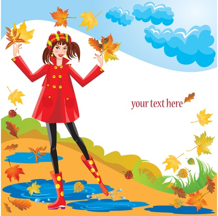 Pretty girl dressing coat and rubber boots walks in autumnal park - square frame Stock Vector - 11142235