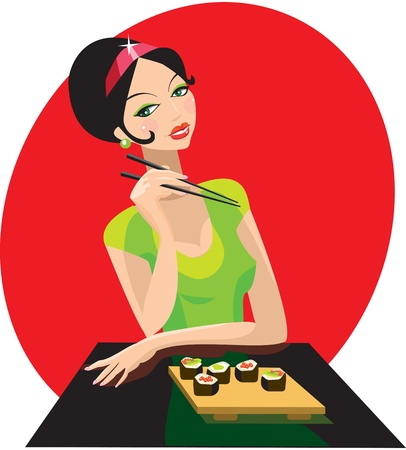 Girl has sushi in attractive japanese restaurant. Vector