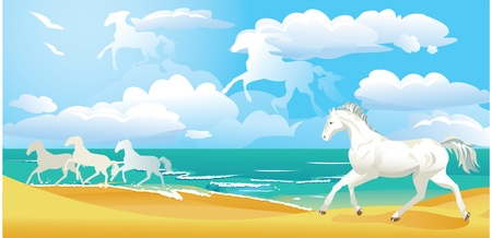 sea horse: sea side landscape with horses and clouds Illustration