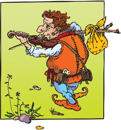 tramp: little hunchback playing violin. Fantasy fairy tail illustration.  Illustration