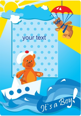 Portrait border with teddy bears for a little baby boy Vector