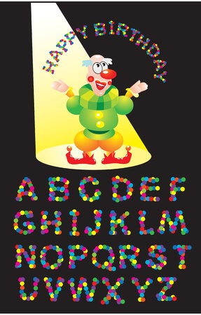 Alphabet - CONFETTI letters and clown (Happy Birthday greetings) Vector