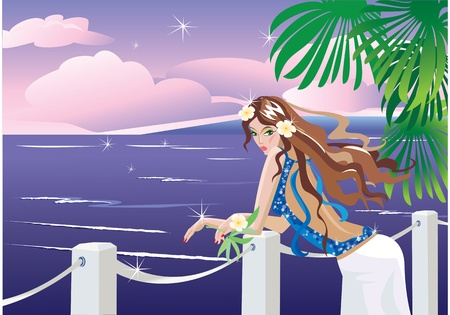 Girl on tropical sea side looking sunset.  Vector