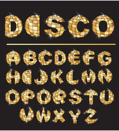 disco symbol: Alphabet - Gold disco ball letters Illustration