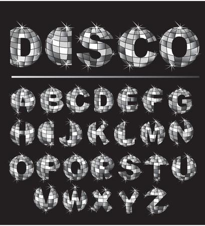 fiestas discoteca: Alfabeto - letras de plata bola de discoteca