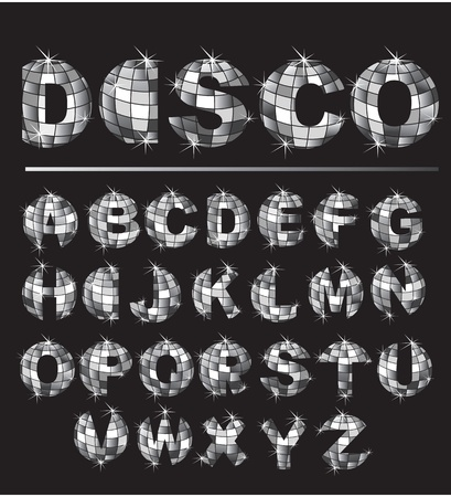 disco symbol: Alphabet - Silver disco ball letters Illustration