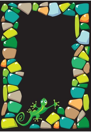 portrait frame with colored stones and lizard Vector