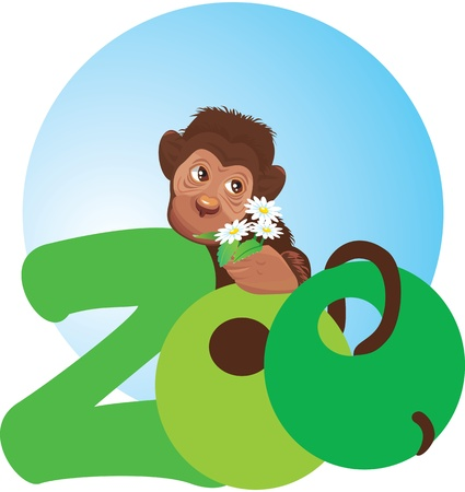 little monkey with flowers in its hand (zoo symbol) Stock Vector - 11142315