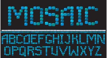 Alfabeto - cartas de mosaico Ilustración de vector
