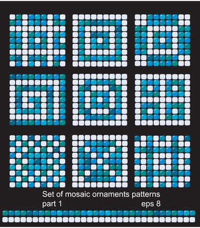 ocean floor: square mosaic pattern backgrounds set - classic geometric ornaments