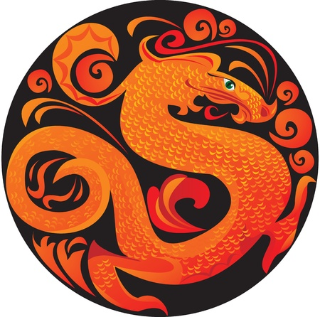Symbol 2012 dragon in circle Stock Vector - 11142318