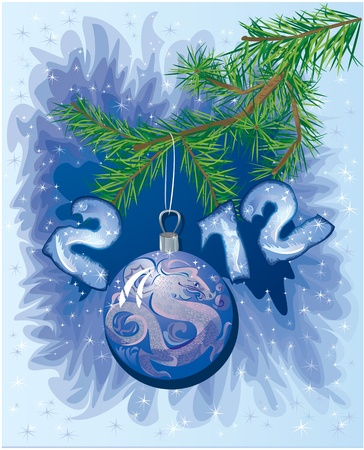New Year postcard with Christmas-tree decoration ball with symbol 2012 dragon Vector