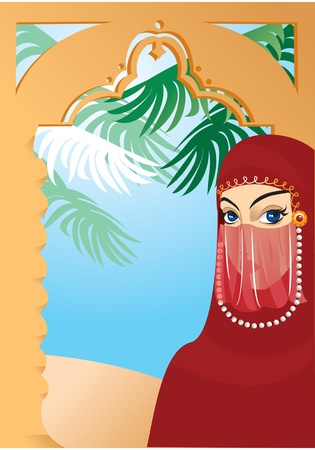 young culture: Portrait border with beautiful arabian woman wearing yashmak Illustration