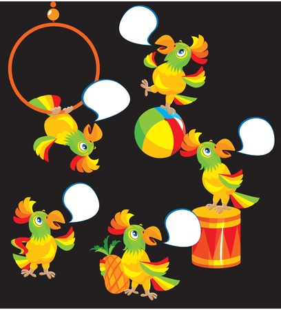 Set of parrot cartoons for the childish ABS book Vector