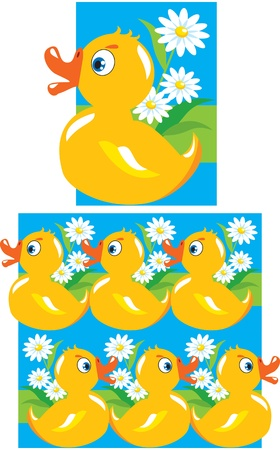 Pattern for children - yellow funny ducks Vector