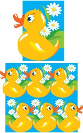 Pattern for children - yellow funny ducks
