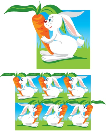 Pattern for children - funny hares and carrots Stock Vector - 11142285