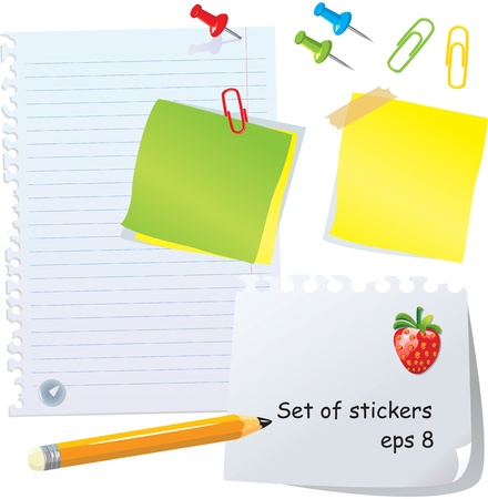 Set of office stationery - pencil, paper clips, thumbtacks, magnet and different paper peaces and stickers Vector