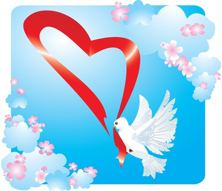 Valentine postcard with dove and heart Vector