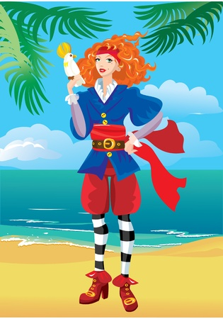 Pirate girl on beautiful tropical beach Vector