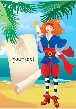 mujer pirata: Pirata niña con el mapa antiguo pergamino y el loro Vectores