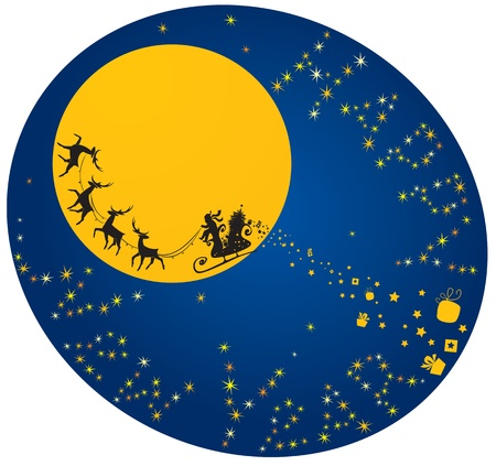 Christmas and New Year card with flying reindeers and Santa Claus  Vector