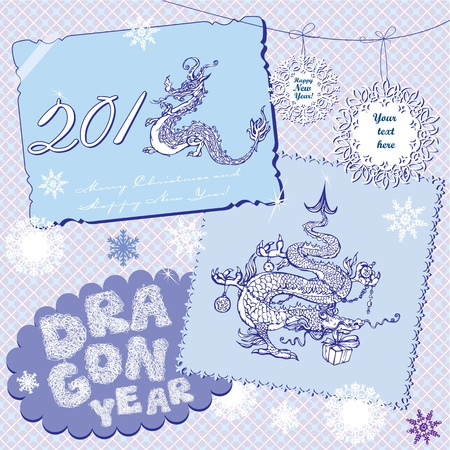 hoarfrost: New Year Postcards in retro style with symbol 2012 dragon on light blue background.