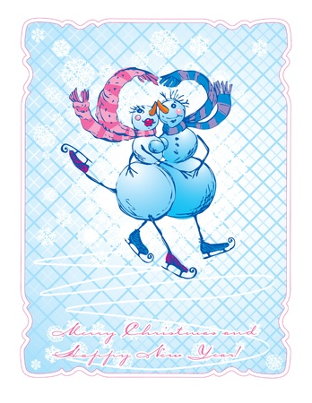 Postcard in vintage style with skating happy couple - snowman and snow woman - hand drawn illustration  Vector