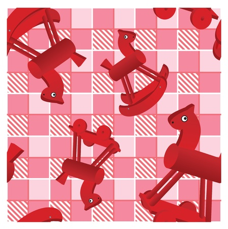 seamless pattern with toys red horses on checked pink background - design for kids Stock Vector - 11142215