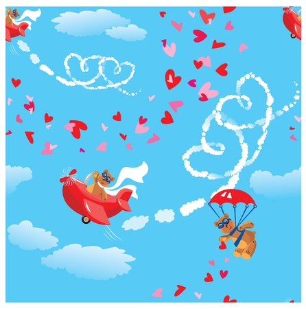Seamless pattern. Teddy bear aviators in love. Pilots by the red planes draws hearts in the sky. Funny cartoon.  Illustration