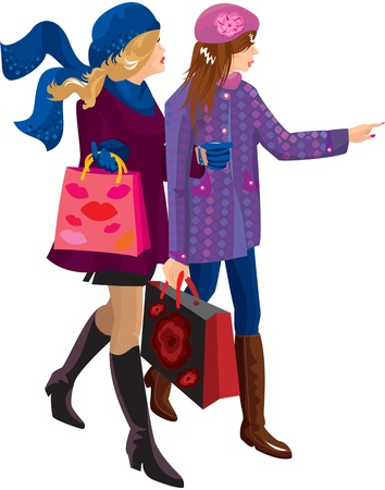 glamour woman elegant: Two Girls Shopping Together Illustration
