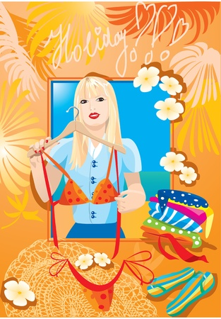 Beautiful blondy girl try on bikini and dreaming about holiday (vocation postcard) Vector