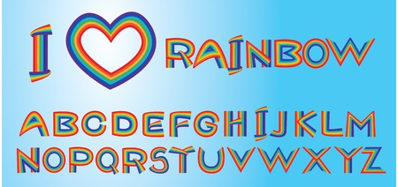 Alphabet - rainbow letters.  Vector