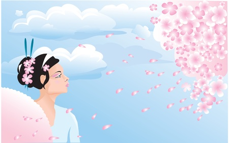 Sakura blossom and japanese girl (geisha).  Vector