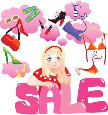 Shopping Girl Making Decision What To Buy /Pretty girl dreaming / Lifestyle vector Illustration Stock Vector - 11142225