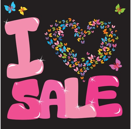 Sale concept with heart and butterfly Vector