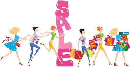 fila de espera: venta de dibujos animados con un grupo de chicas divertidas en el tiempo de compras