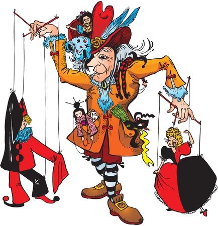 arlecchino: Burattinaio e marionette: Pierrot, Colombina, Arlecchino, Gipsy, giapponese (Fata illustrazione racconto) Vettoriali