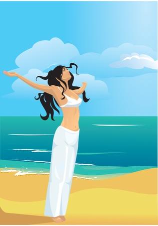 Joven y bella, delgada y fuerte en la playa (de salud y un ajuste de concepto)