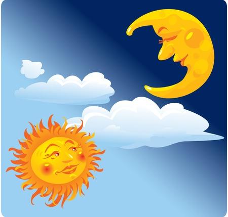 Sun and moon Stock Vector - 11142186