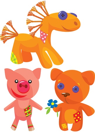 Set of cute hand made soft toys.  Vector